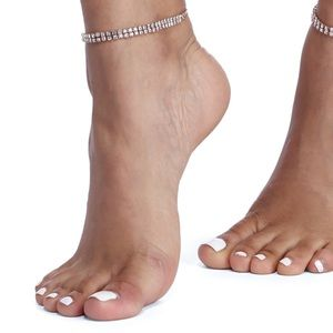 Jewelry - Anklet 2-Layer Pave Crystal Stretch